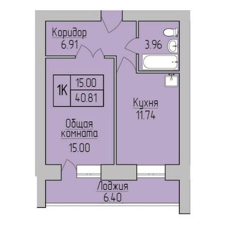 Вариант №5359, 1-комнатная квартира в жилом комплексе