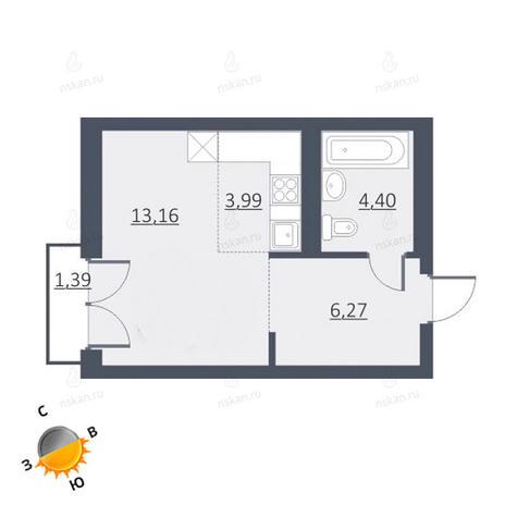 Вариант №1636, 1-комнатная квартира в жилом комплексе Дунаевский