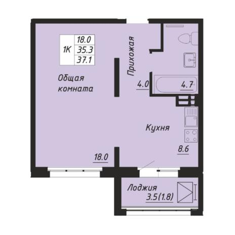 Вариант №5251, 1-комнатная квартира в жилом комплексе