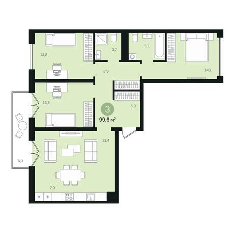 Вариант №6341, 4-комнатная квартира в жилом комплексе