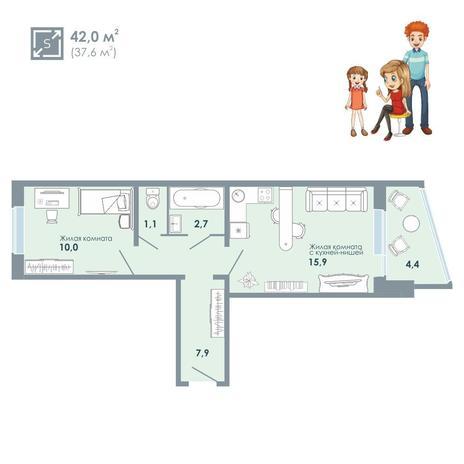 Вариант №5135, 2-комнатная квартира в жилом комплексе