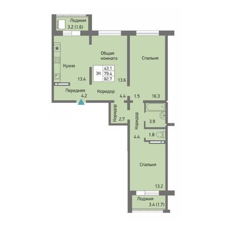 Вариант №4510, 3-комнатная квартира в жилом комплексе Заельцовский