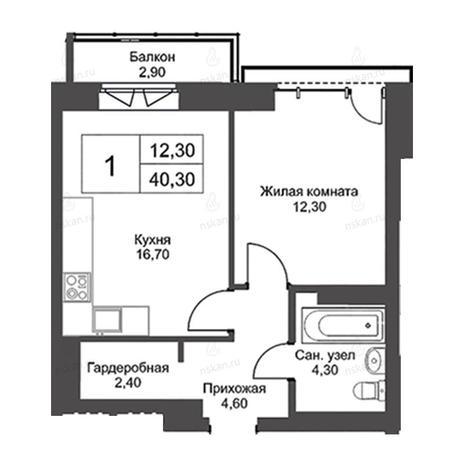Вариант №2741, 2-комнатная квартира в жилом комплексе Крымский