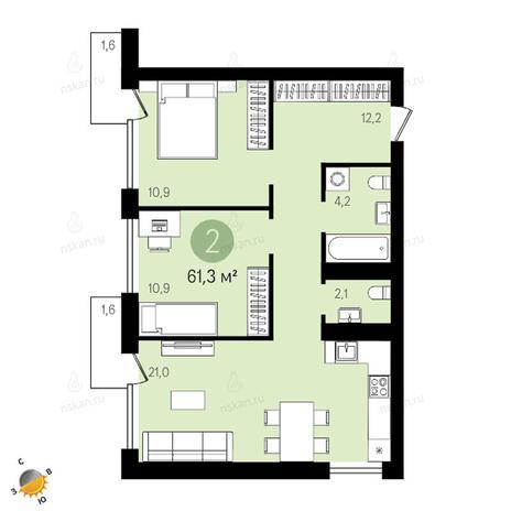 Вариант №2400, 3-комнатная квартира в жилом комплексе Европейский Берег