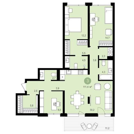 Вариант №4176, 4-комнатная квартира в жилом комплексе Авиатор