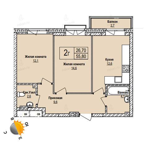 Вариант №1104, 2-комнатная квартира в жилом комплексе Пифагор