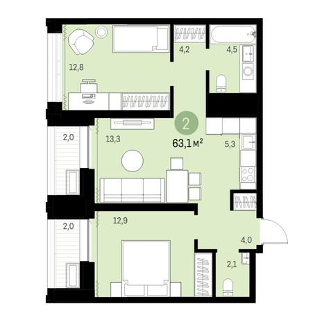 Вариант №6132, 3-комнатная квартира в жилом комплексе