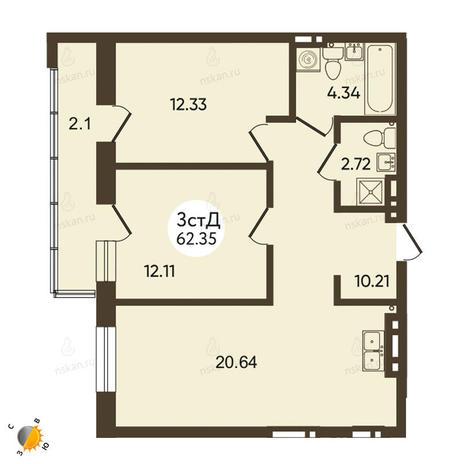 Вариант №2119, 3-комнатная квартира в жилом комплексе История