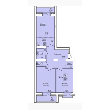 Вариант №4312, 3-комнатная квартира в жилом комплексе Свобода
