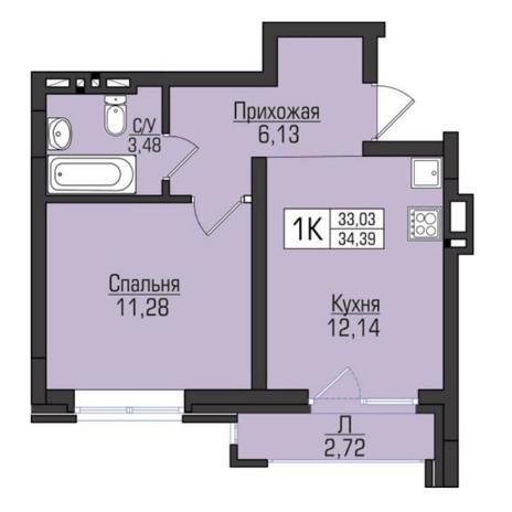 Вариант №5102, 1-комнатная квартира в жилом комплексе Цивилизация