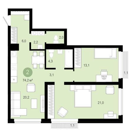 Вариант №4587, 3-комнатная квартира в жилом комплексе