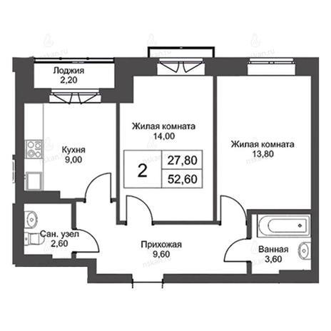Вариант №2728, 2-комнатная квартира в жилом комплексе Эволюция