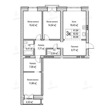 Вариант №1051, 3-комнатная квартира в жилом комплексе Потанинская 2