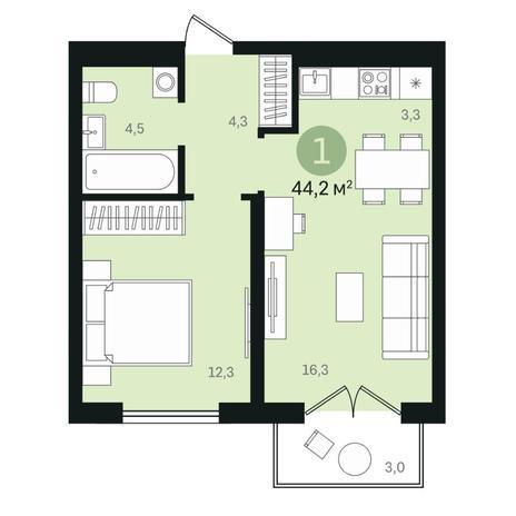Вариант №6443, 2-комнатная квартира в жилом комплексе