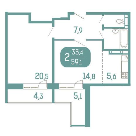 Вариант №2910, 2-комнатная квартира в жилом комплексе Аквамарин
