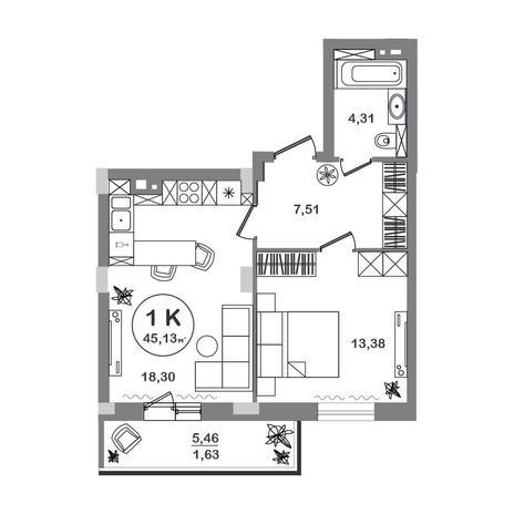 Вариант №5206, 1-комнатная квартира в жилом комплексе