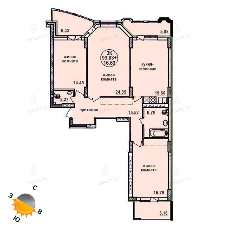 Планировка 4-комн. студия площадью 99.83 м<sup>2</sup> в ЖК Заельцовский