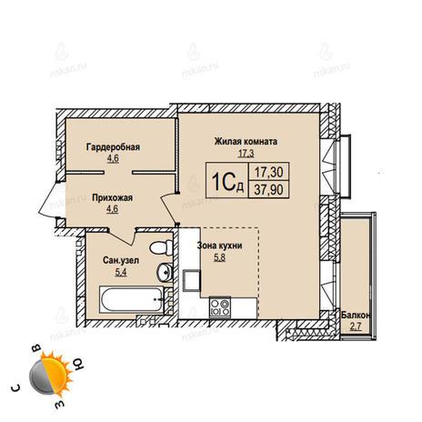 Вариант №1106, 1-комнатная квартира в жилом комплексе
