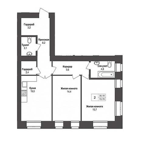 Вариант №3134, 2-комнатная квартира в жилом комплексе