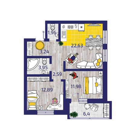 Вариант №3719, 3-комнатная квартира в жилом комплексе