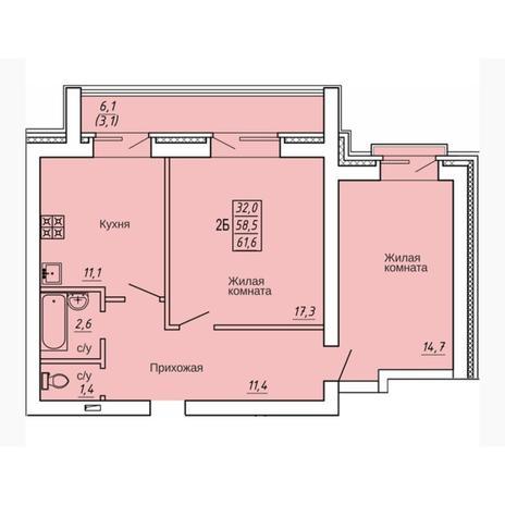 Вариант №4321, 2-комнатная квартира в жилом комплексе Европейский Берег