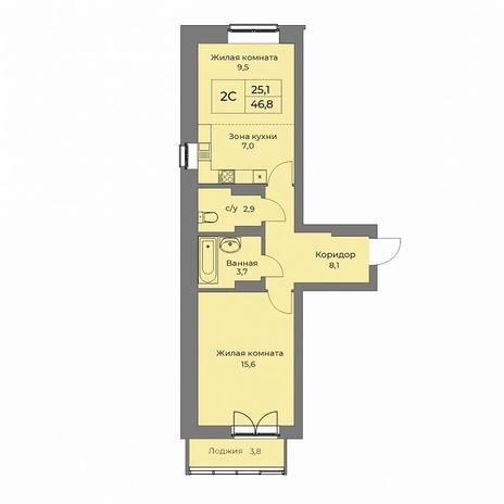 Вариант №5276, 2-комнатная квартира в жилом комплексе