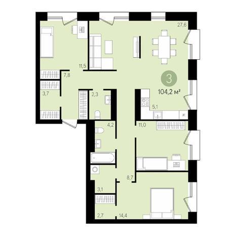 Вариант №3478, 4-комнатная квартира в жилом комплексе На Декабристов