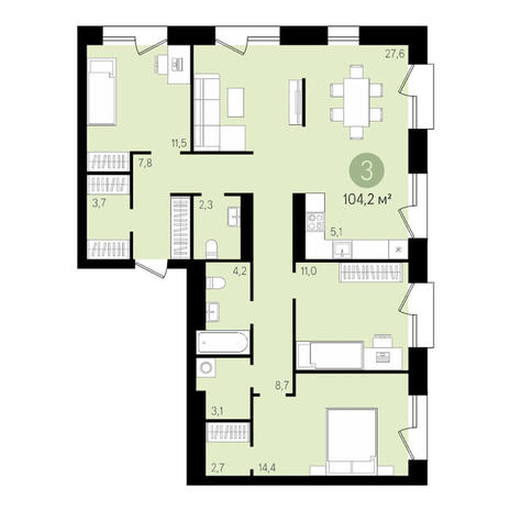 Вариант №3478, 4-комнатная квартира в жилом комплексе