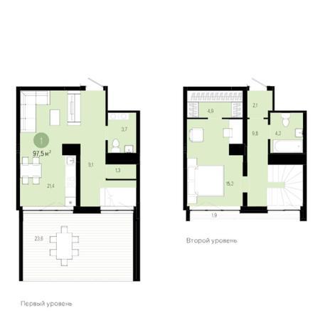 Вариант №6267, 2-комнатная квартира в жилом комплексе