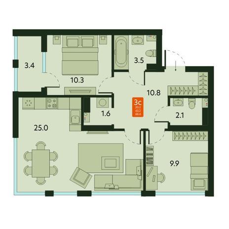 Вариант №6680, 3-комнатная квартира в жилом комплексе