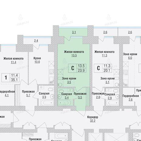 Вариант №1058, 1-комнатная квартира в жилом комплексе
