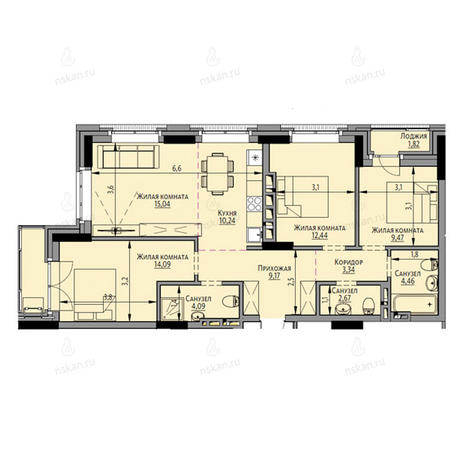 Вариант №2696, 4-комнатная квартира в жилом комплексе Академия