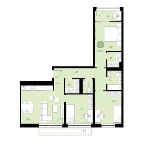 Вариант №4626, 4-комнатная квартира в жилом комплексе Европейский Берег