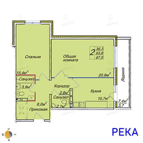 Вариант №2017, 2-комнатная квартира в жилом комплексе
