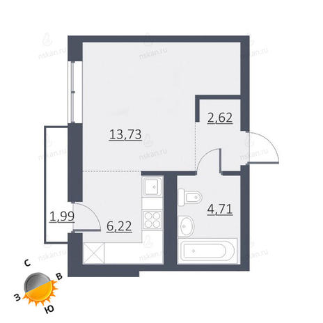 Вариант №1651, 1-комнатная квартира в жилом комплексе