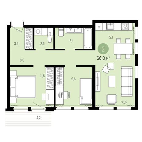 Вариант №4958, 3-комнатная квартира в жилом комплексе Пшеница