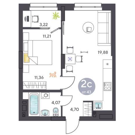 Вариант №5424, 2-комнатная квартира в жилом комплексе