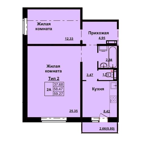 Вариант №3163, 2-комнатная квартира в жилом комплексе Северная корона