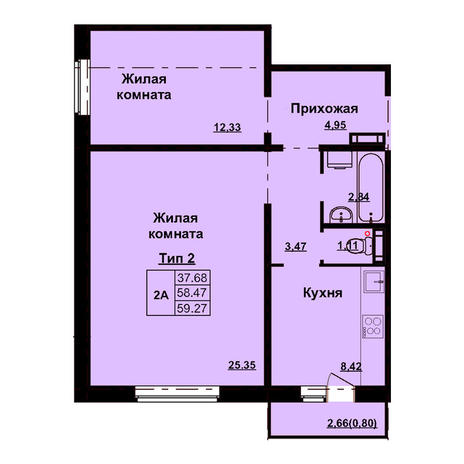 Вариант №3163, 2-комнатная квартира в жилом комплексе Революция