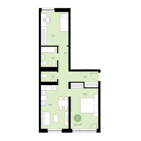 Вариант №4639, 3-комнатная квартира в жилом комплексе
