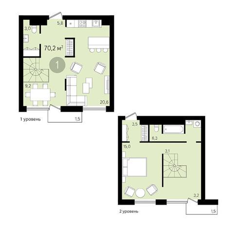 Вариант №3376, 1-комнатная квартира в жилом комплексе