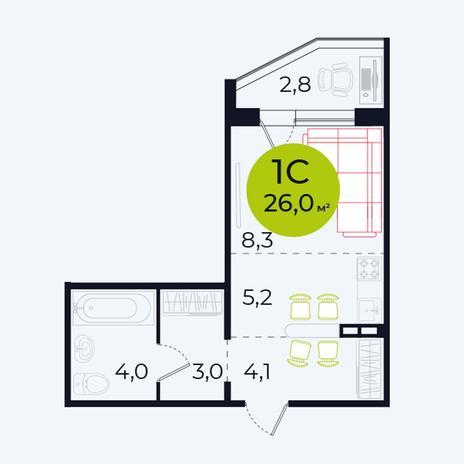 Вариант №4097, 1-комнатная квартира в жилом комплексе Весна