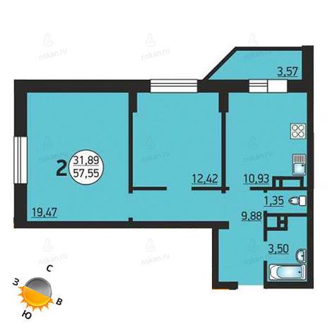 Вариант №1386, 2-комнатная квартира в жилом комплексе Фрунзе 49