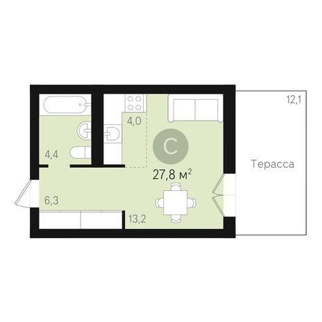Вариант №3455, 1-комнатная квартира в жилом комплексе Дунаевский