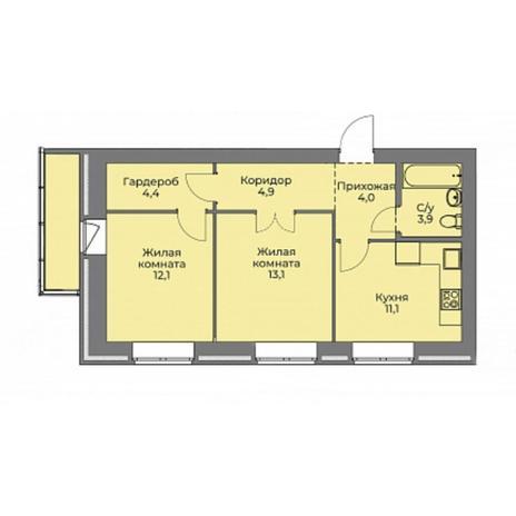 Вариант №4400, 2-комнатная квартира в жилом комплексе Эскимо