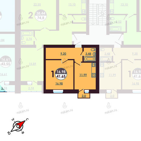 Вариант №414, 1-комнатная квартира в жилом комплексе Ключевой
