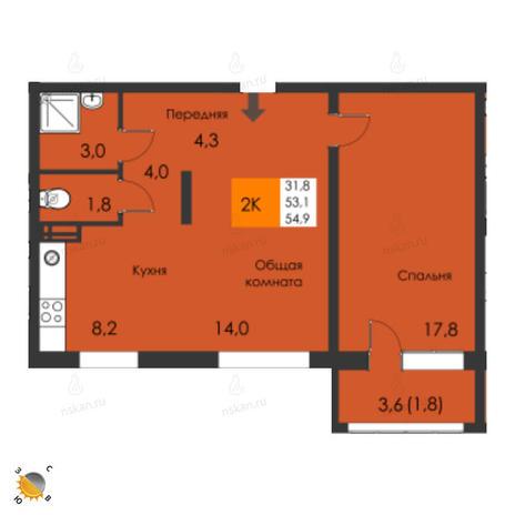 Вариант №2310, 2-комнатная квартира в жилом комплексе