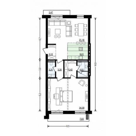 Вариант №4916, 2-комнатная квартира в жилом комплексе Жуковка