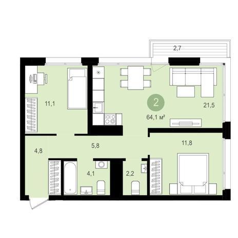 Вариант №4351, 3-комнатная квартира в жилом комплексе