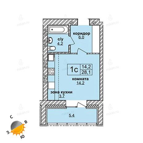 Вариант №1593, 1-комнатная квартира в жилом комплексе Северная корона
